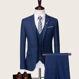 Plaid Brown Mens Suit Jacket Australia - Blue Plaid Groom Tuxedos Custom Made Notched Lapel Men Wedding Suits Formal Mens Suits For Business Three Pieces (Jacket+Vest+Pants +Tie)