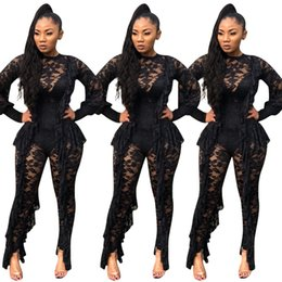 da12711ed275 Black Lace Sexy See Through Women Night Out Club Pants Jumpsuits Long  Sleeves Crew Neck Ruffles High Quality Party Outfits Rompers 2019