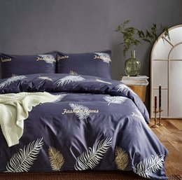 Wholesale beautiful Tropical Fern Leaves pattern bedding duvet cover set with pillow case sham US twin queen king size