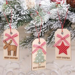 $enCountryForm.capitalKeyWord NZ - New Year Merry Christmas Wooden Bow Deer Bell Snowman Pendants Ornament Crafts For Xmas Tree Christmas Party Hanging Decoration