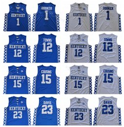 Men College Devin Booker Jersey 1 Basketball Kentucky Wildcats Karl Anthony  Towns 12 John Wall 11 Anthony Davis 23 DeMarcus Cousins 15 40c7f391c