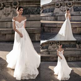 Discount flowing wedding dress sheer - Gali Karten Lace Boho Wedding Dresses Off Shoulders Backless Country Bridal Gown 2019 Cheap Retro Flowing Long Train fai