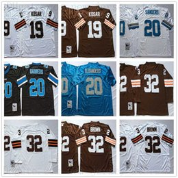 Wholesale vintage patches for sale - Group buy Vintage Cleveland Jim Brown Jersey Browns Bernie Kosar Football Vintage Detriot Barry Sanders lions th Patch Stitched Shirts
