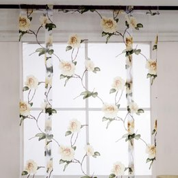 roman curtains Australia - Short Sheer Curtains Window Pastoral Style Flowers Leaves Printed Gauze Roman Curtains Panels Bedroom Kitchen Home Decoration