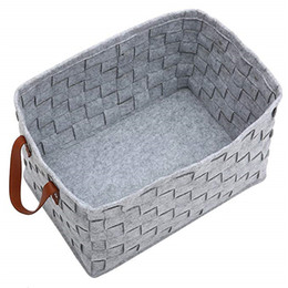 $enCountryForm.capitalKeyWord UK - Felt Clothes Storage Box Woven Storage Bin Firewood Basket Garment Basket with Handle for Toys, Newspaper