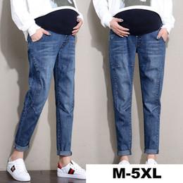 9dbf95224a9b3 Denim Pregnancy Pants Plus Size M-5xl Clothes For Pregnant Women Elastic  Waist Belly Pant Cotton Jeans Trousers For Maternity Y19052003
