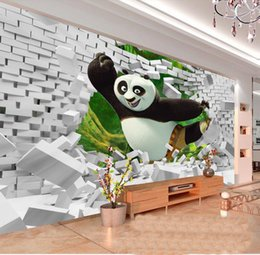 Wood Kids Kitchen Australia - custom size 3d photo wallpaper kids room bed room living room mural 3D Panda Brick Wall picture sofa TV backdrop wallpaper non-woven sticker