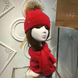 Hair Dye Balls Australia - Top Quality Celebrity design Letter Woolen Scarf Hat Men Woman Cashmere wool Fox hair ball hat 2pc 40653491 80071931 013 With Box