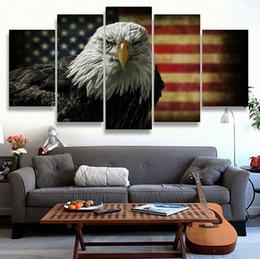 Framed Eagle Painting Australia - American Eagles USA Flag,5 Pieces Canvas Prints Wall Art Oil Painting Home Decor (Unframed Framed)