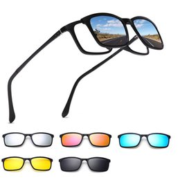 4eef55f460 Polarized Sunglasses Men Women 5 In 1 Magnetic Clip On Glasses TR90 Optical  Prescription Eyewear Frames Eyeglass 8803