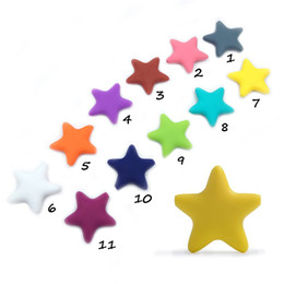 chew beads wholesale NZ - Silicone Five-pointed Star Beads Chew Food Grade Silicone Teether DIY Baby Teething Beads Mom Infant Necklace Bracelet Toys