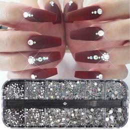 Venta al por mayor de Crystal Strass Nail Art Decoración de diamantes de imitación Tamaño mixto AB Clear AB No Hotfix Plans Gema para el acceso a la manicura de las uñas Ji388