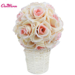 silk wedding pomanders UK - Wholesale- 18cm 7in Silk ribbon Rose Flower Ball Artificial Pomander Bouquet Kissing Ball Wedding Centerpiece Decorations