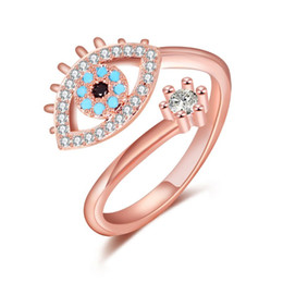Turkey Ring Australia - Turkey Blue Evil Eye Cubic Zirconia Rings Open Design For Women Fashion Jewelry Exquisite Rings
