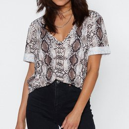 $enCountryForm.capitalKeyWord Australia - Women Summer Tshirt 2019 Snake Print Batwing Short Sleeve T-shirt V-neck Casual Loose Tops Tees Tunic Harajuku Streetwear Female