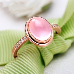 $enCountryForm.capitalKeyWord Australia - 5 Karat Pink Oval CZ Wedding Rings For Women Jewelry Rose Gold Color Engagement Rings Female Bijoux Party Gift Top Quality