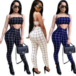 Wholesale clothing playsuits for sale – dress Womens Designer Clothing Sets Casual Tracksuits Playsuits Plaids Strapless Bras Fashion Female Suits