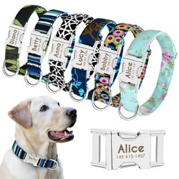 Cartoon Cat dog online shopping - Dog Collar Personalized Nylon Pet Dog Tag Collar Custom Puppy Cat Nameplate ID Collars Adjustable For Medium Large Dogs Engraved RRA2123