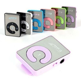 Wholesale Mini Mirror Clip USB Digital MP3 Music Player Support SD TF Music Play with TF-Card Slot 3.5mm Earphone Jack