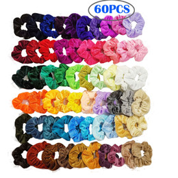 60PC Pack Girl Women's Velvet Hair Scrunchies Ponytail Holder Elastic Hairbands Hair Ties Ropes Hair loop Pleuche Headwear new GGA2871 on Sale