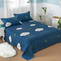 $enCountryForm.capitalKeyWord Australia - Blue Stripes Rain Cloud Flat Sheet 100% Cotton Bed Sheet for Children Adults Gifts Bedding Mattress Cover Bedding Set Bedspreads