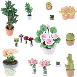 $enCountryForm.capitalKeyWord Australia - New Simulation Potted Plants Green Tree Potted Green Plant In Pot Doll House Furniture Home Decor For 1:12 Dollhouse Miniature