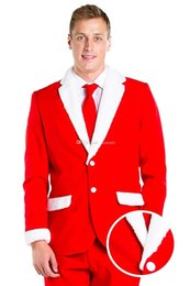 Discount exclusive jackets Christmas Exclusive Groom Tuxedos Groom Tuxedos Notch Lapel Santa Claus Red Men Suits Wedding Prom Dinner Blazer ( Jacke