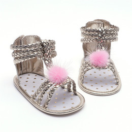 Baby Girl Summer Canvas Shoes Australia - Summer Baby Girl Sandals Toddler Newborn Baby Girls Roman Sandals Cute Ball Shoes Anti-slip Soft Sole Shoes NDA84L30