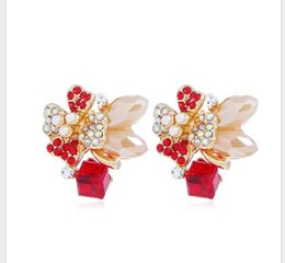 Chinese  Flower Crystal Ear Nails Female Temperament Simple Sweet Rose Ear Ornaments Japanese and Korean Accessories manufacturers