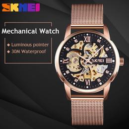AutomAtic wAtch geArs online shopping - SKMEI Mechanical Automatic Watch Men Luxury Quartz Watch Strainless Steel Strap Waterproof Gear Hollow Art Watches Montre Homme