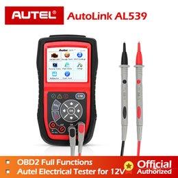 Tester Electrical Tool Australia - Autel AL539 OBDII Code Reader OBD Car Scanner Electrical Tester AL 539 12V AL539B AVO Meter Battery Diagnostic Tool