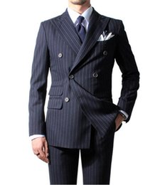 double breasted blue jacket mens UK - New Fashion Double Breasted Navy Blue Stripe Groom Tuxedos Groomsmen Peak Lapel Best Man Blazer Mens Wedding Suits (Jacket Pants Tie )H :904