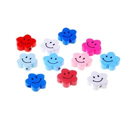 Wood Crafts For Kids UK - spacer Free Shipping 20pcs Wooden Lovely Flower Styles Spacer Beading Wood Beads Toys For Baby DIY Crafts Kids Toys 20x19mm