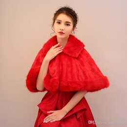 ToasT cloThes online shopping - 2019 bride married red water mane apple hair shawl wedding dress toast clothing cloak Drop Shipping