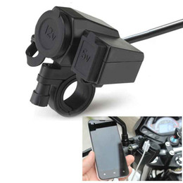 $enCountryForm.capitalKeyWord NZ - 12V Motorbike Motorcycle Handlebar Cigarette Lighter Power Adapter Charger With 5V 2.1A USB Socket Waterproof
