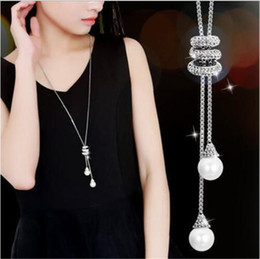 $enCountryForm.capitalKeyWord Australia - The European and American fashion Korea is long contracted pearl pendant long necklace hangs joker to set diamond tassel sweater chain