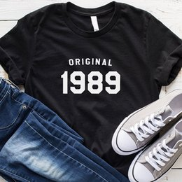 Birthday Party T Shirts Australia - 30th T Shirt Women Causal Graphic Tee Original 1989 T-shirt Short Sleeve Cotton O-neck Tshirt Birthday Party Tops 3xl C19041702