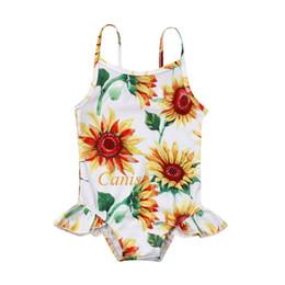 Swimwear Infant Australia - Infant Kids Baby Girls SunFlower Swimwear Romper Sling Bathing Beach Clothes Infant Kids Baby Girls One Piece Bikini