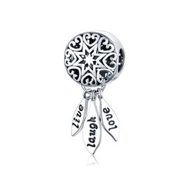 $enCountryForm.capitalKeyWord Australia - 5PCS Lot Real 925 Sterling Silver Live Love Laugh Star Dreamcatcher Dangle Pendant Charm for Pandora Bracelet Necklace