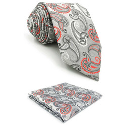 $enCountryForm.capitalKeyWord Australia - F4 Silver Paisley Men Necktie Set Party Wedding XL Ties for male Fashion Silk Hanky