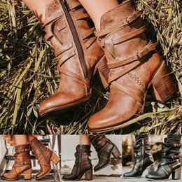 women belts vintage Australia - Fashion Retro Nice Women Shoes High-heeled Pointed Boots Multi-layer Buckle Back Zipper Solid Color Vintage Belt Buckles Boots