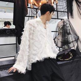 MIXCUBIC 2018 Outono estilo Coreano Requintado personalidade camisas de penas homens soltos casuais camisas de penas para homens, tamanho M-XXL # 444749 venda por atacado