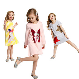 kids cotton frocks wholesale NZ - 20 Kids Long Sleeve Dress Colorful Sequins Butterfly Pattern Frock Children Spring Stripe Casual Clothes Cartoon Owl Appliques Outfits Free