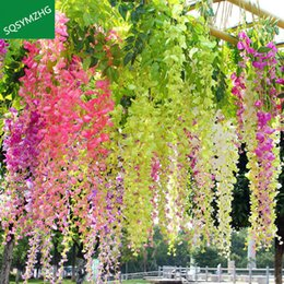 $enCountryForm.capitalKeyWord NZ - 12pcs lot Wedding Decor Artificial Silk Wisteria Flower Vines hanging Rattan Bride flowers Garland For Home Garden Hotel