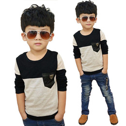 $enCountryForm.capitalKeyWord Australia - Size100~150 Kids Child Tops Tees Children T-shirts For Boys Long Sleeve T Shirts Patchwork 2019 Baby