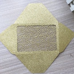 Wholesale 30PCS Hollow Luxury Glitter Paper Wedding Invitation Cards Envelope Bag Supply To Anything Invitation Card