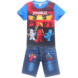 $enCountryForm.capitalKeyWord UK - New Boy Summer Clothing Characters suit Ninja ninjago set Childrens Cotton T-shirt Suits Baby Boys Kids Shorts jeans