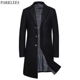 Wholesale winter men wool pea coat resale online - Classic Black Long Wool Pea Coat Men Winter Brand New Slim Fit Men s Wool Blends Overcoat Notch Lapel Male Cashmere Coat