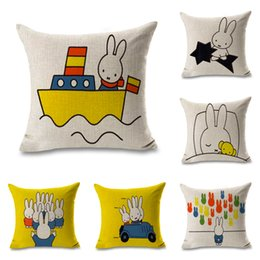 Gift Boat Australia - Cartoon Miffy on Boat Throw Massager Pillow Case Decorative Pillows Warm Home Decor Vintage Gift