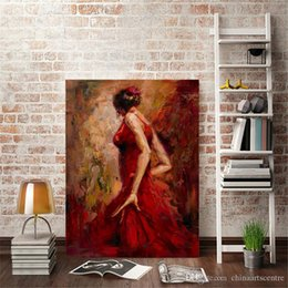 Handpainted dresses online shopping - Modern Handpainted HD Print Impressionist Art Oil Painting Dancing Girl in Red Dress On Canvas Wall Art Home Decor High Quality g178 vA